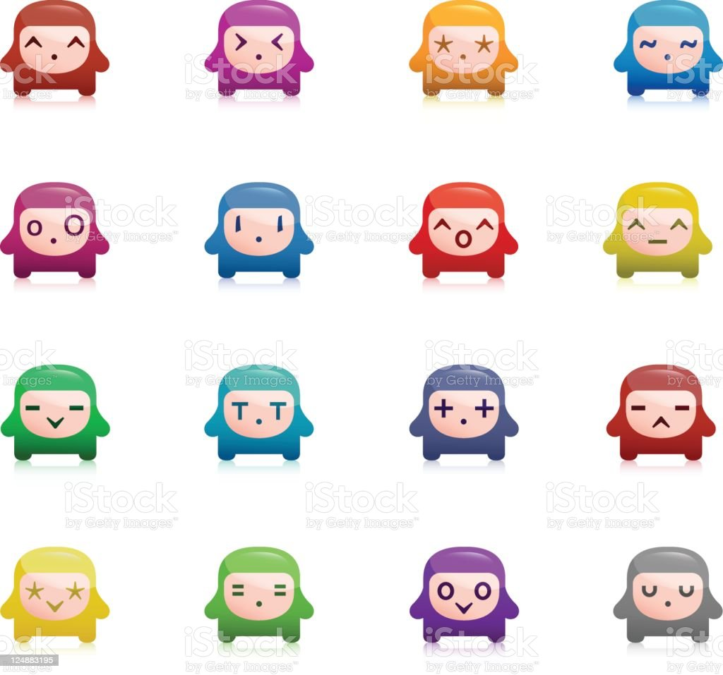 Cute Vector Emoticons royalty-free stock vector art