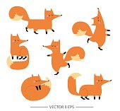Set of cute hand drawn vector foxes in flat style. Little funny stylized foxes for your design.