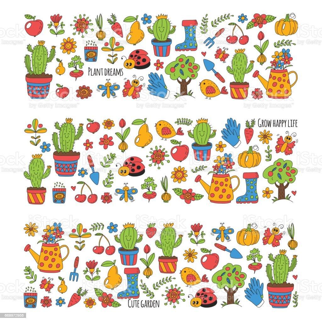 Cute vector garden with birds, cactus, plants, fruits, berries, gardening tools, rubberboots Garden market pattern in doodle style cute vector garden with birds cactus plants fruits berries gardening tools rubberboots garden market pattern in doodle style - immagini vettoriali stock e altre immagini di attrezzi da giardinaggio royalty-free