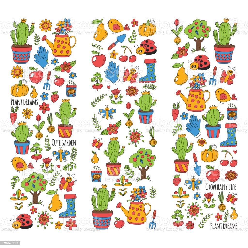 Cute Vector Garden With Birds, Cactus, Plants, Fruits, Berries, Gardening  Tools