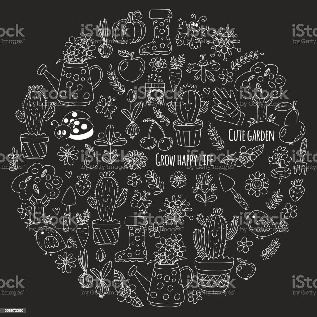 Cute vector garden with birds, cactus, plants, fruits, berries, gardening tools, rubberboots Garden market pattern in doodle style isolated on blackboard cute vector garden with birds cactus plants fruits berries gardening tools rubberboots garden market pattern in doodle style isolated on blackboard - immagini vettoriali stock e altre immagini di attrezzi da giardinaggio royalty-free
