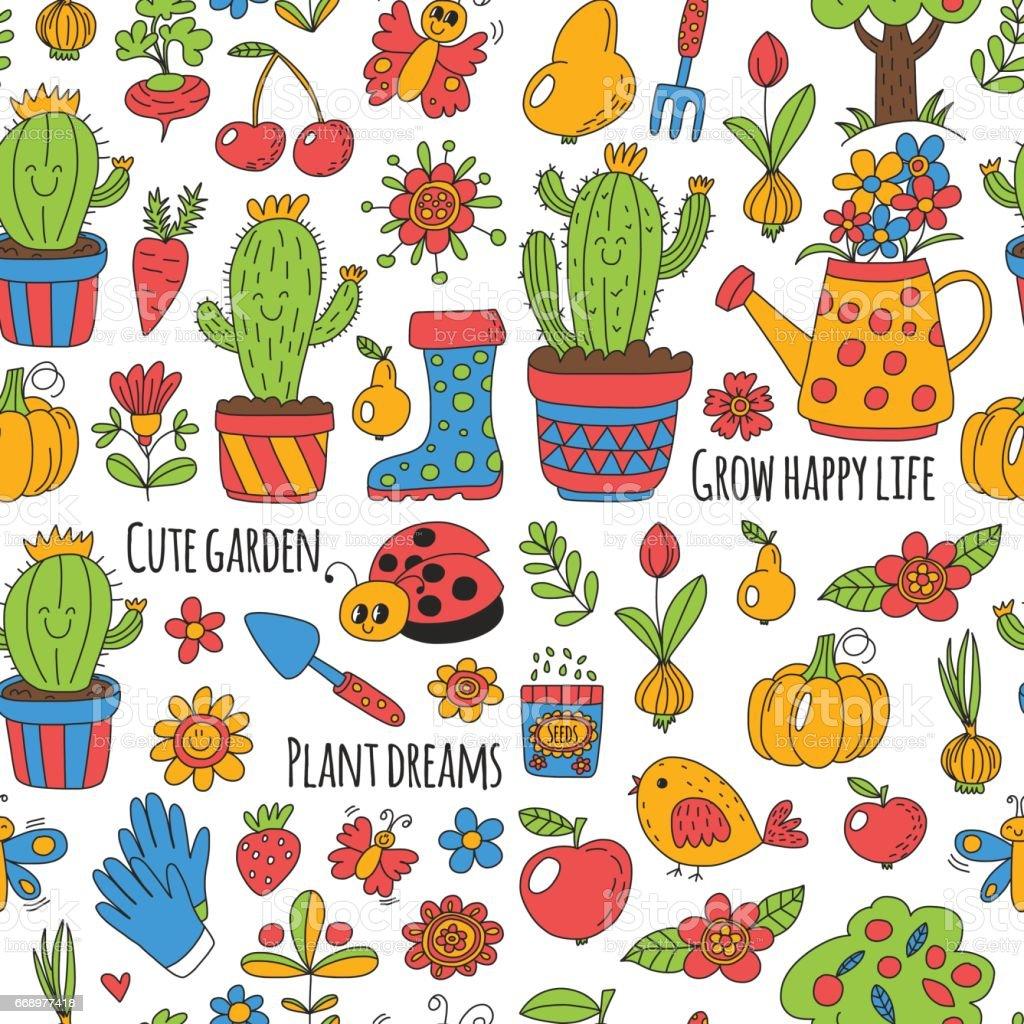 Nice Cute Vector Garden With Birds, Cactus, Plants, Fruits, Berries, Gardening  Tools