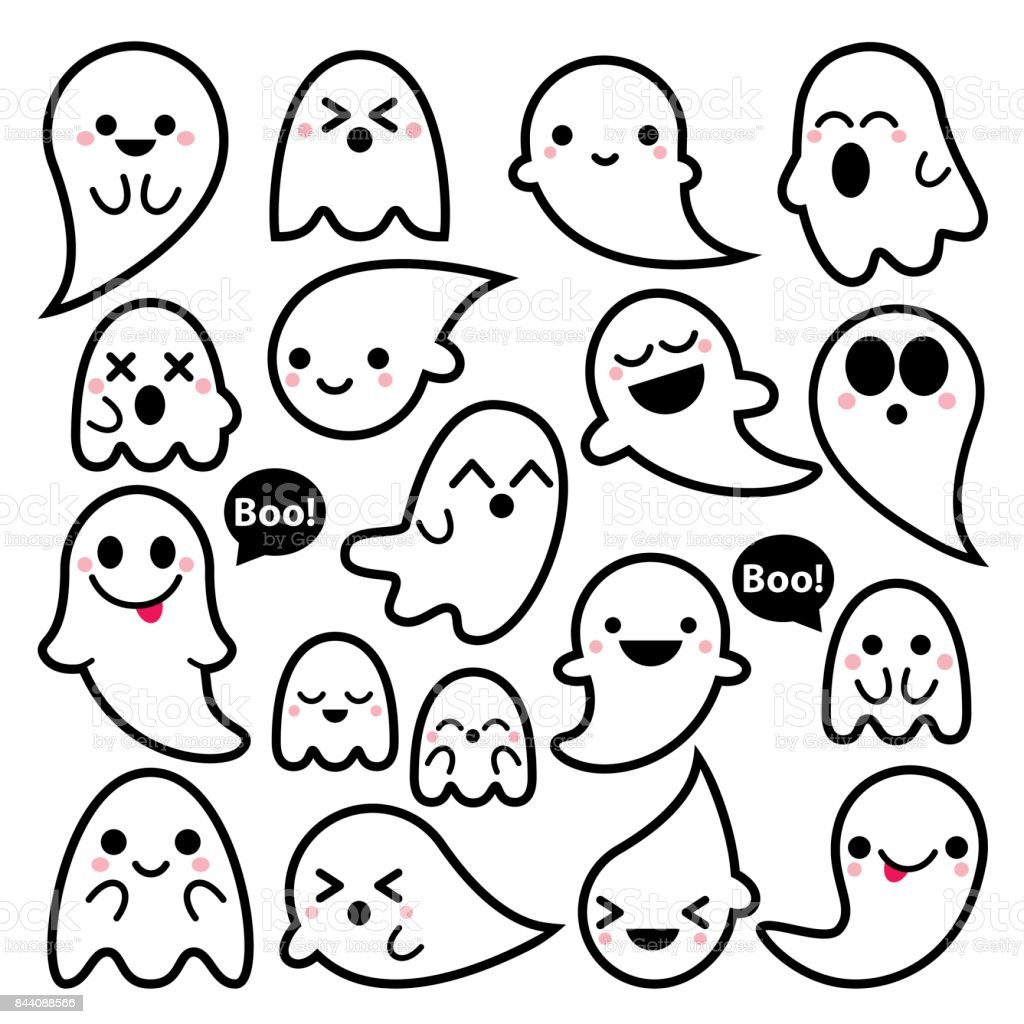 cute vector ghosts icons halloween design set kawaii black stroke