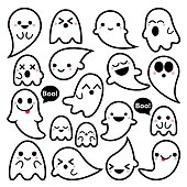 Cute vector ghosts icons, Halloween design set, Kawaii black stroke ghost collection on white background