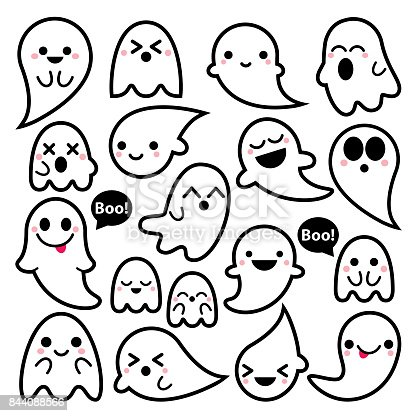Cute Vector Ghosts Icons Halloween Design Set Kawaii Black
