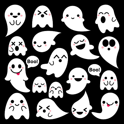 Cute vector ghosts icons on black background, Halloween design set, Kawaii ghost collection