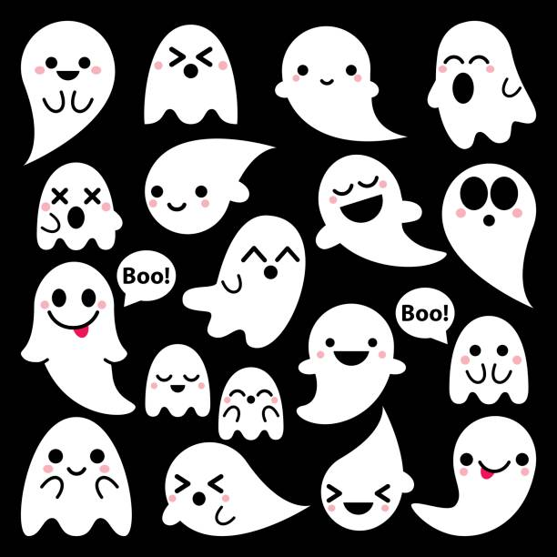 Cute vector ghosts icons on black background, Halloween design set, Kawaii ghost collection Cartoon ghost characters - happy, surprised, scary, smiling, Halloween decorations ghost icon stock illustrations