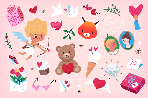 Cute vector graphic elements for Valentine's Day 1