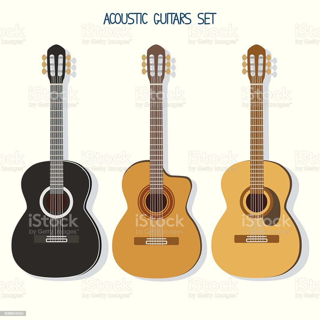 Cute vector guitars illustrations set. Acoustic (classic) guitars vector art illustration