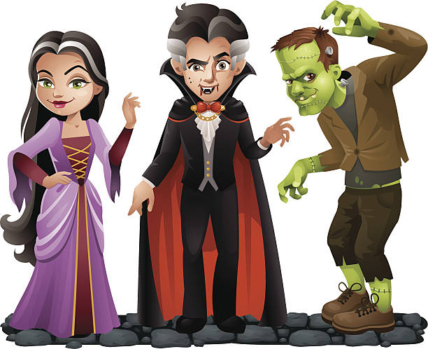 cute vector halloween characters: vampire lady, dracula and frankensteins monster - frankenstein stock illustrations