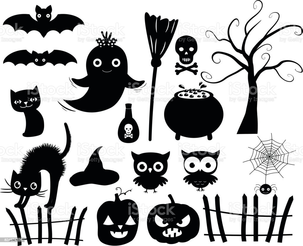 cute vector halloween silhouettes in black stock illustration - download image now