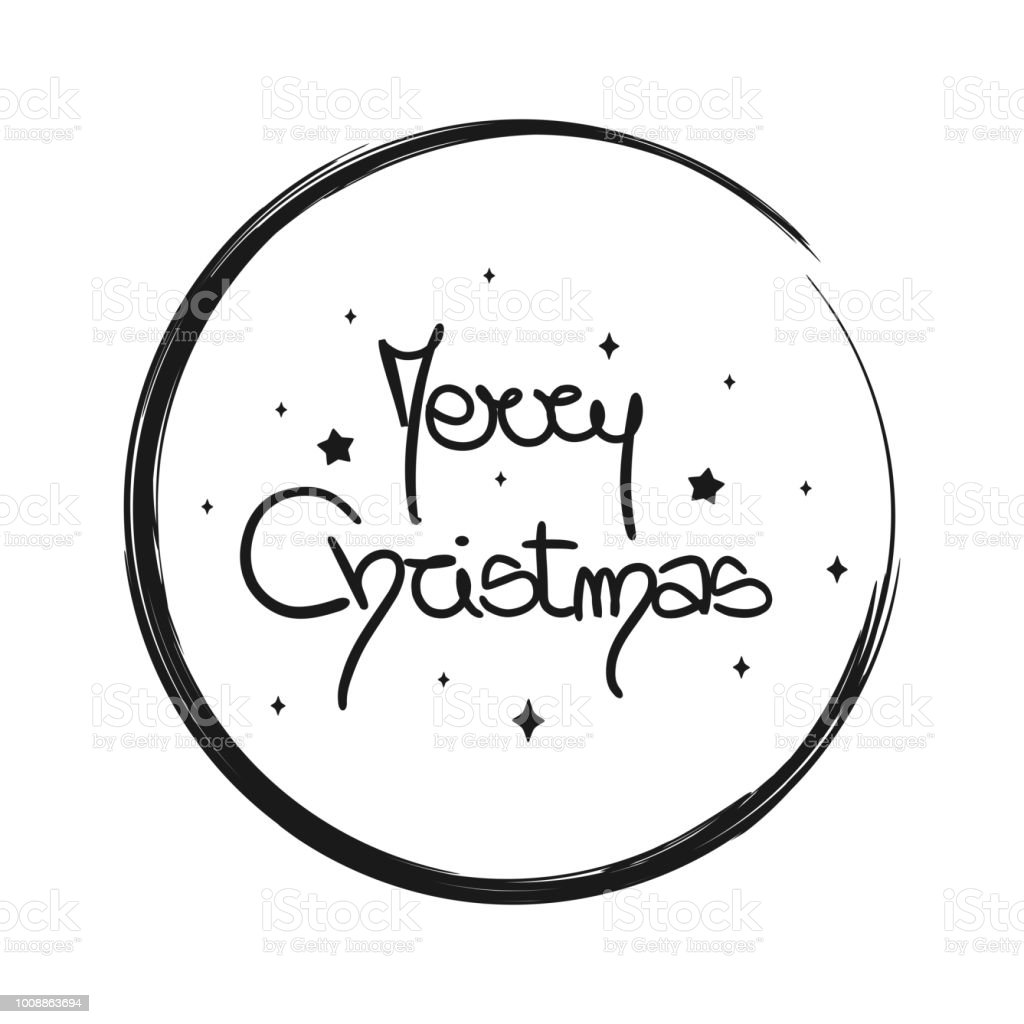 cute vector hand drawn lettering merry christmas text in grunge circle frame vector art illustration