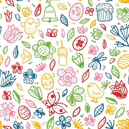 Cute vector Happy Easter seamless pattern