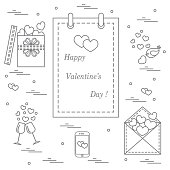 Cute vector illustration: calendar with Valentine's Day, gifts, postal envelope, two stemware, smartphone, birds with hearts.