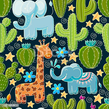 istock Cute vector illustration. Cartoon images of cactus. Cacti, aloe, succulents. Decorative natural elements 1281083833