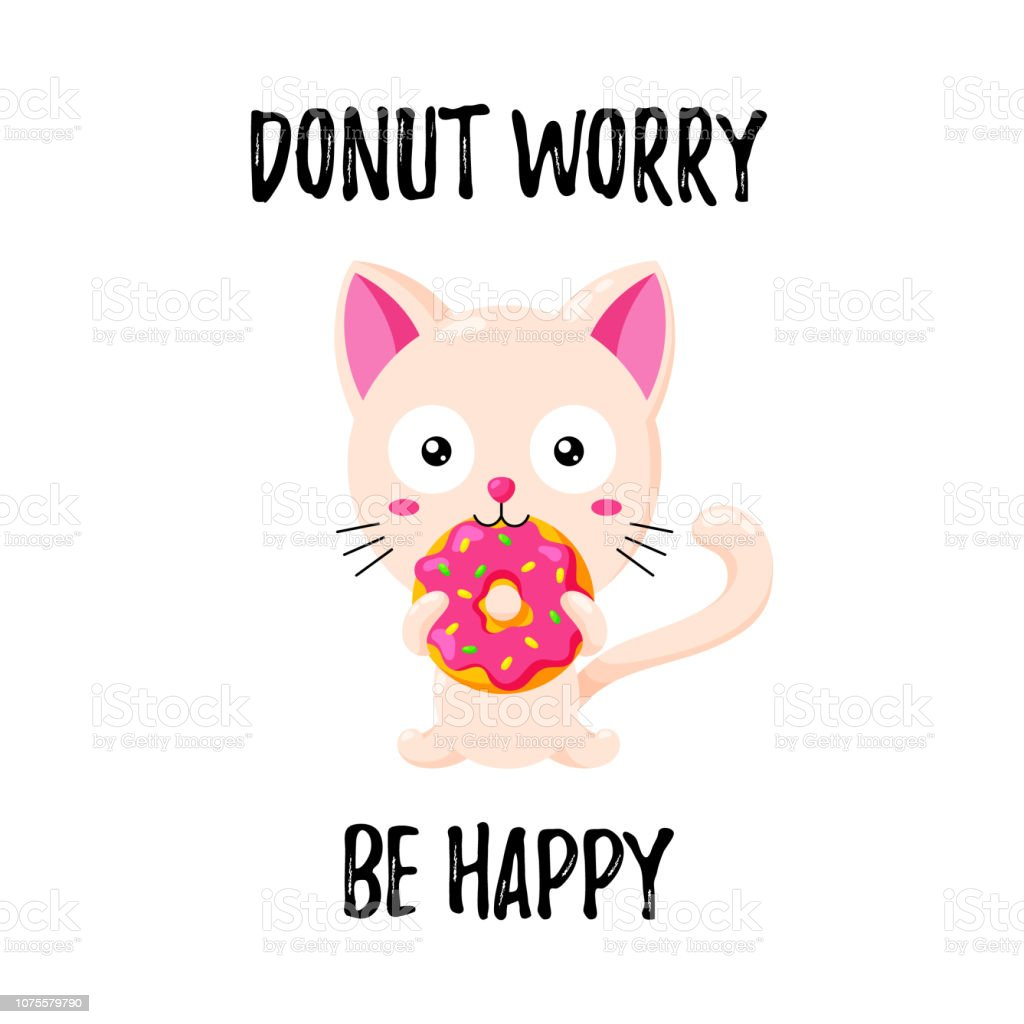 Cat Template | Cute Vector Illustration Funny Cartoon Cat Eating A Donut Template