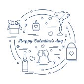 Cute vector illustration: gifts, balloons, stemware, candle, bag, bottle with hearts and snowflakes arranged in a circle.