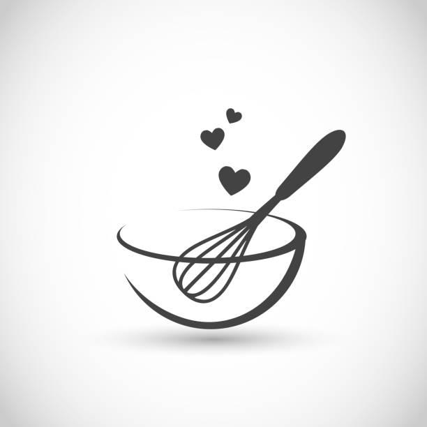 urocza ilustracja wektorowa - ręczna trzepak z miską - ciasto stock illustrations