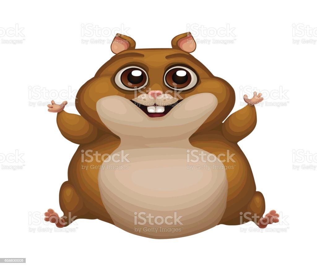 Niedliche Vektorillustration Von Fetten Hamster Porträt Von Ein ...
