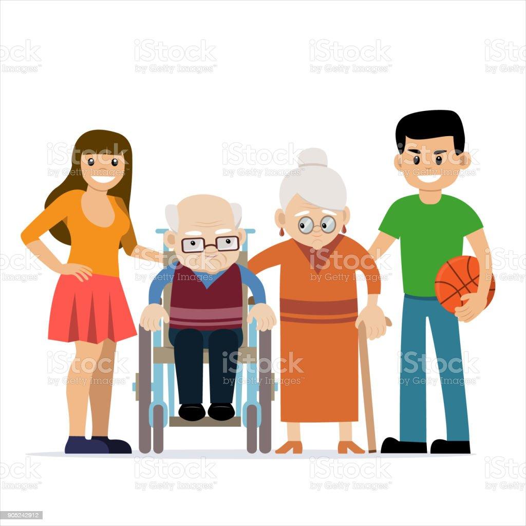 Ilustración de vector lindo de abuelos felices - ilustración de arte vectorial