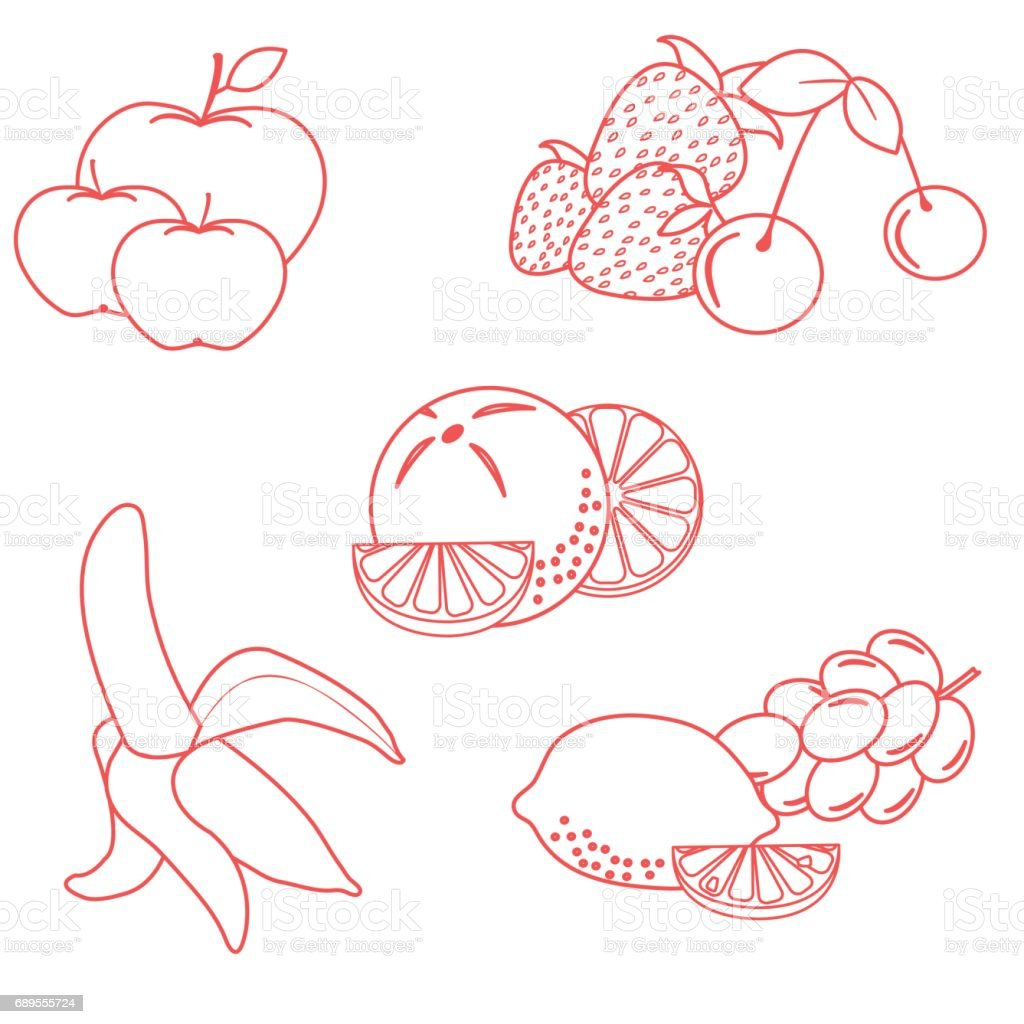 Cute vector illustration of organic fruits and berries.  Healthy eating vector concept. vector art illustration