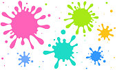 istock Cute vector illustration of scattered colorful ink and splash 1264601471