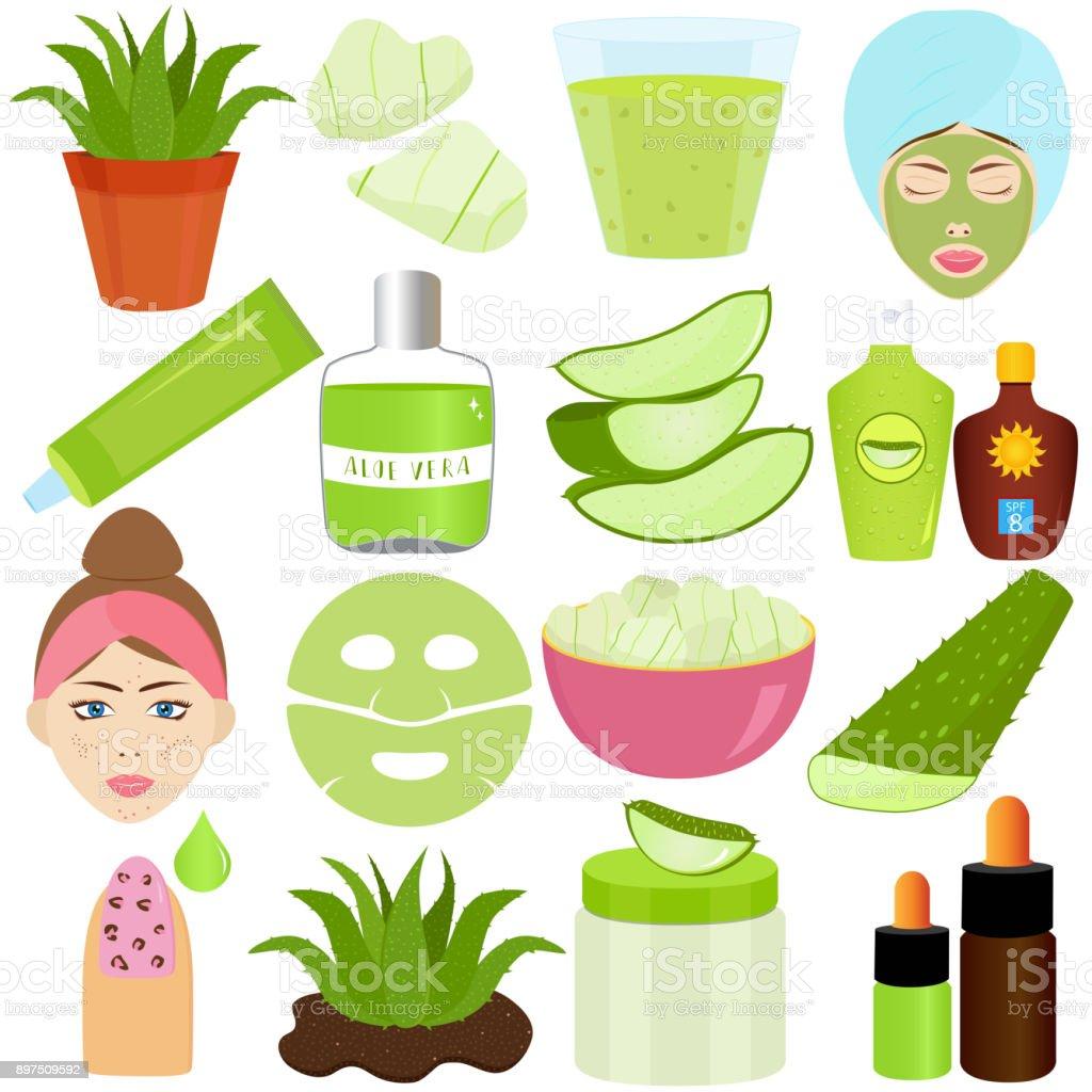 Mignon ensemble d'illustration de vecteur de gel d'Aloe Vera utilisé dans les boissons, aliments et produits de traitement de beauté - Illustration vectorielle