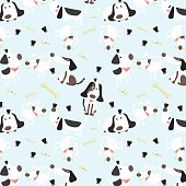 Cute vector illustration with fun puppies in pattern.