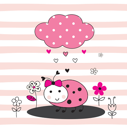 Cute vector  illustration with cartoon ladybug