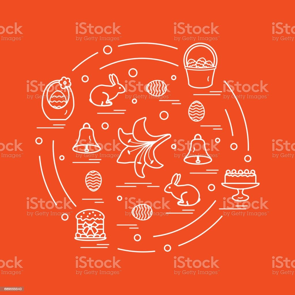 Cute vector illustration with different symbols for Easter arranged in a circle. Including icons of simnel cake, lily, baskets, eggs and other. vector art illustration