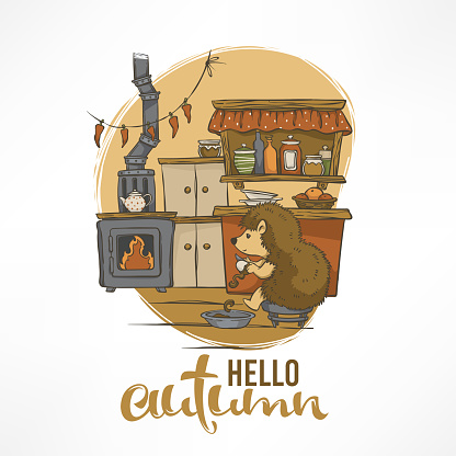 cute vector illustration with hedgehog house interior for children book or greeting card