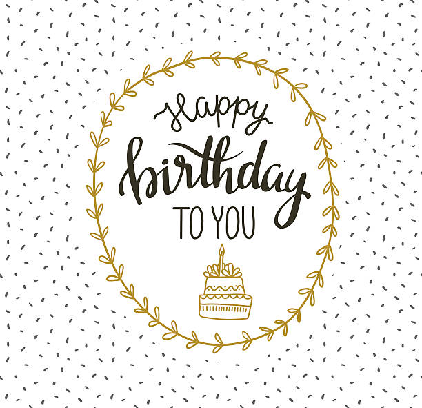 Cute vector illustration with lettering - happy birthday to you. Cute vector happy birthday to you card with cake and wreath. Vector illustration. Greeting card with stylish lettering phrase. cake borders stock illustrations