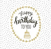 Cute vector illustration with lettering - happy birthday to you.