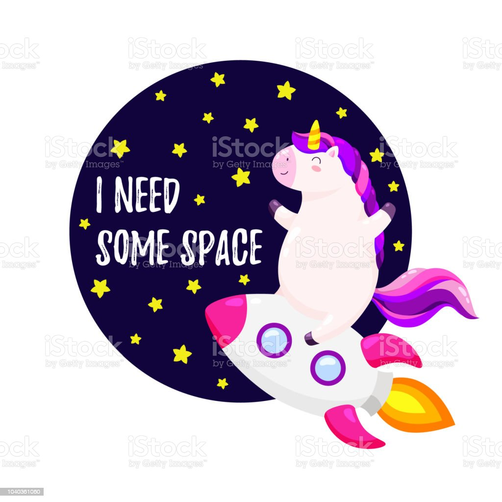 cute vector illustration with unicorn astronaut template for design