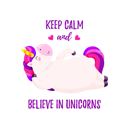 Cute vector illustration with unicorn. Template for printing, design of T-shirt, banner.
