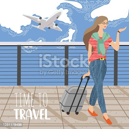 istock Cute vector illustration with Woman looking at a wristwatch and suitcase against the backdrop of a flying plane in the sky. Girl ready to travel 1251178498