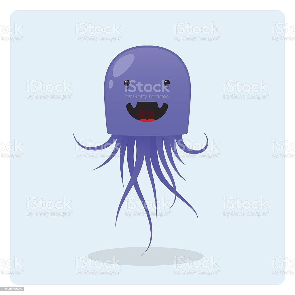 Cute Vector Jellyfish Character With Happy Expression royalty-free stock vector art