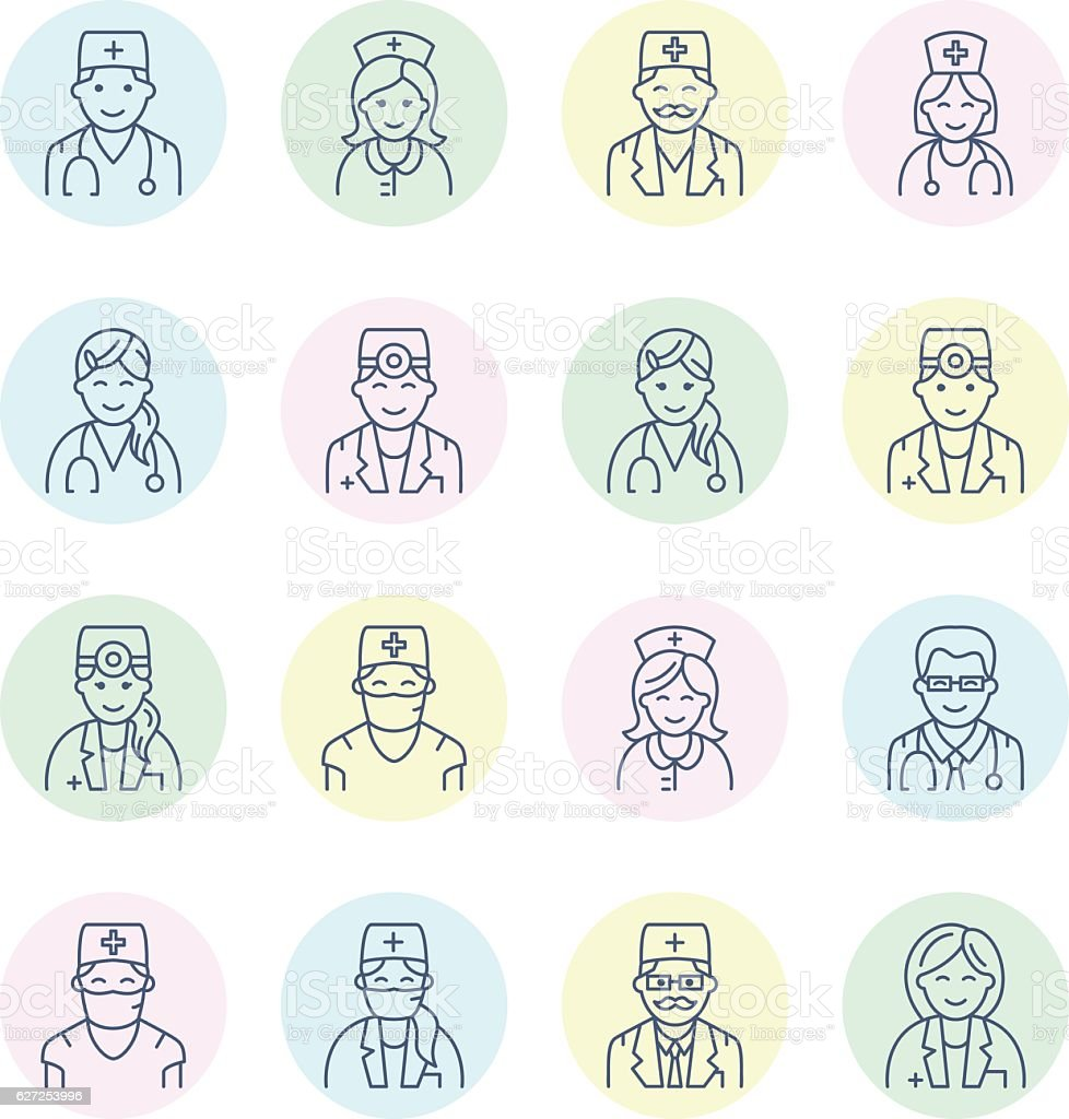 Cute Vector Line Icon Of Doctor Hospital Clinic Linear Logo Stock Illustration Download Image Now Istock