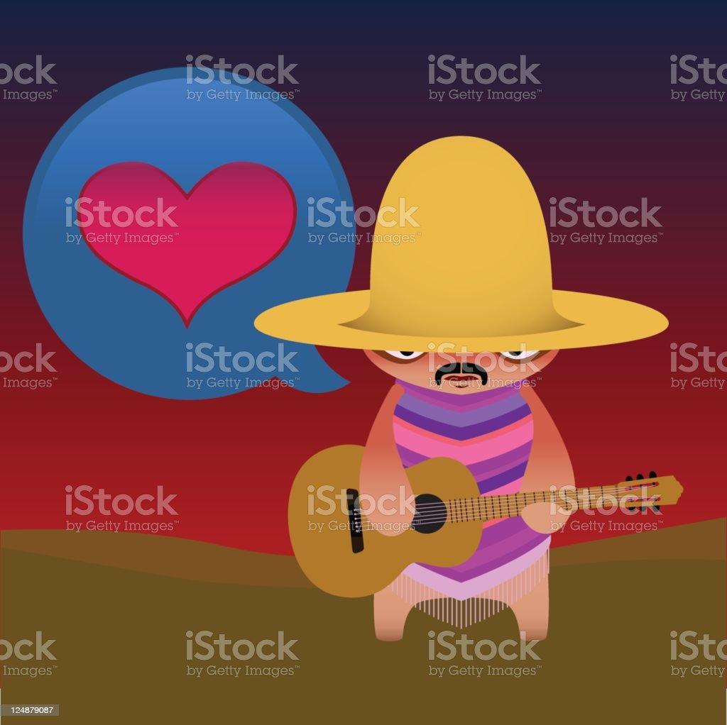 Cute Vector Mariachi With Guitar royalty-free stock vector art