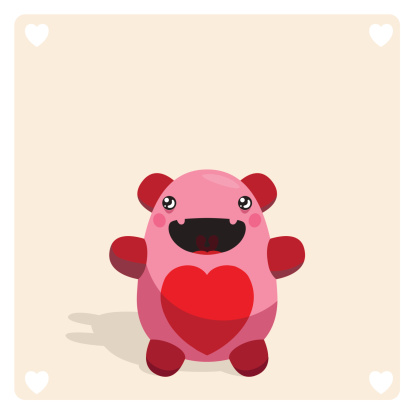 Cute Vector Monster Character With Heart Symbol