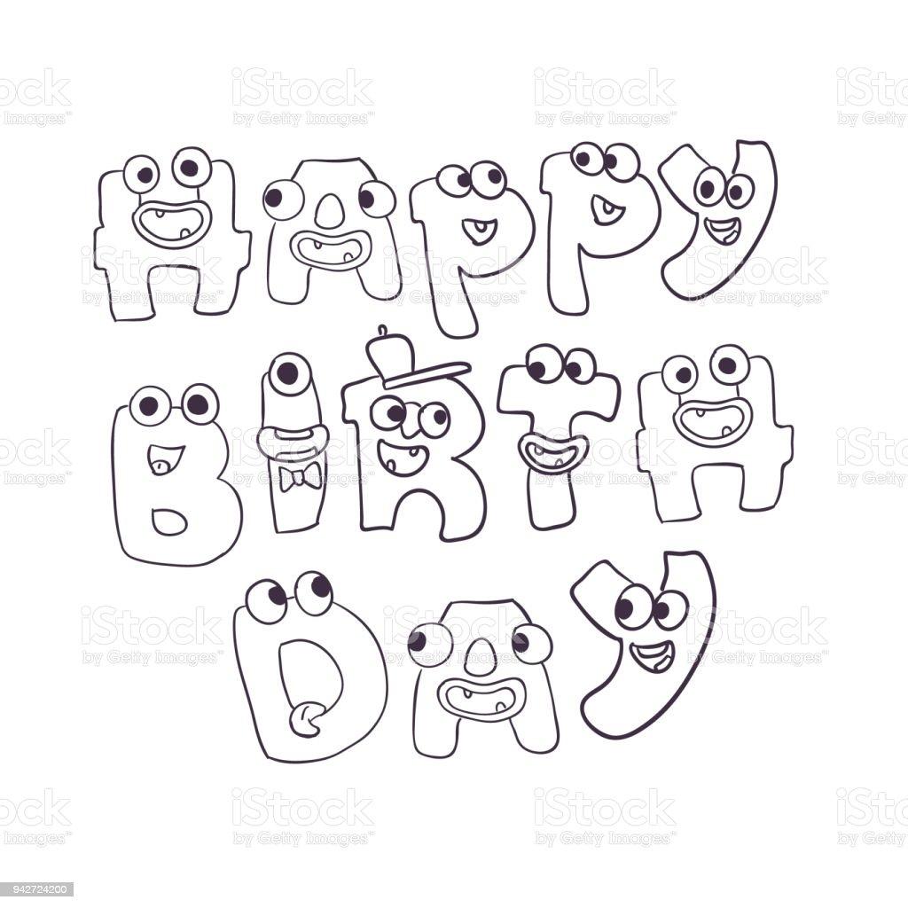 cute vector monsters doodle happy birthday sign stock vector art