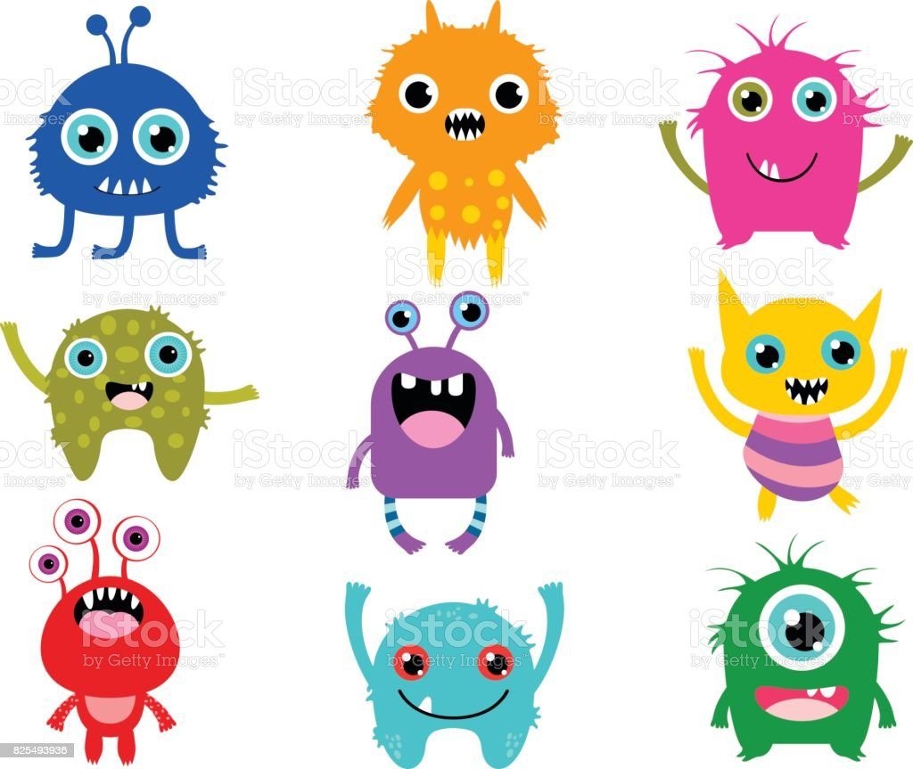 Cute Vector Monsters Or Aliens Creatures For Halloween And For Kids