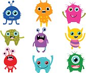 Cute vector monsters or aliens creatures for Halloween and for kids birthday designs and invitations