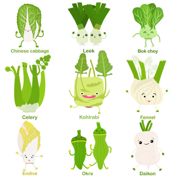 Cute vector of square shaped smiling fruit, vegetable with happy face in green color vector art illustration