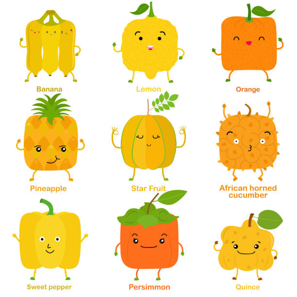Cute vector of square shaped smiling fruit, vegetable with happy face in yellow color vector art illustration