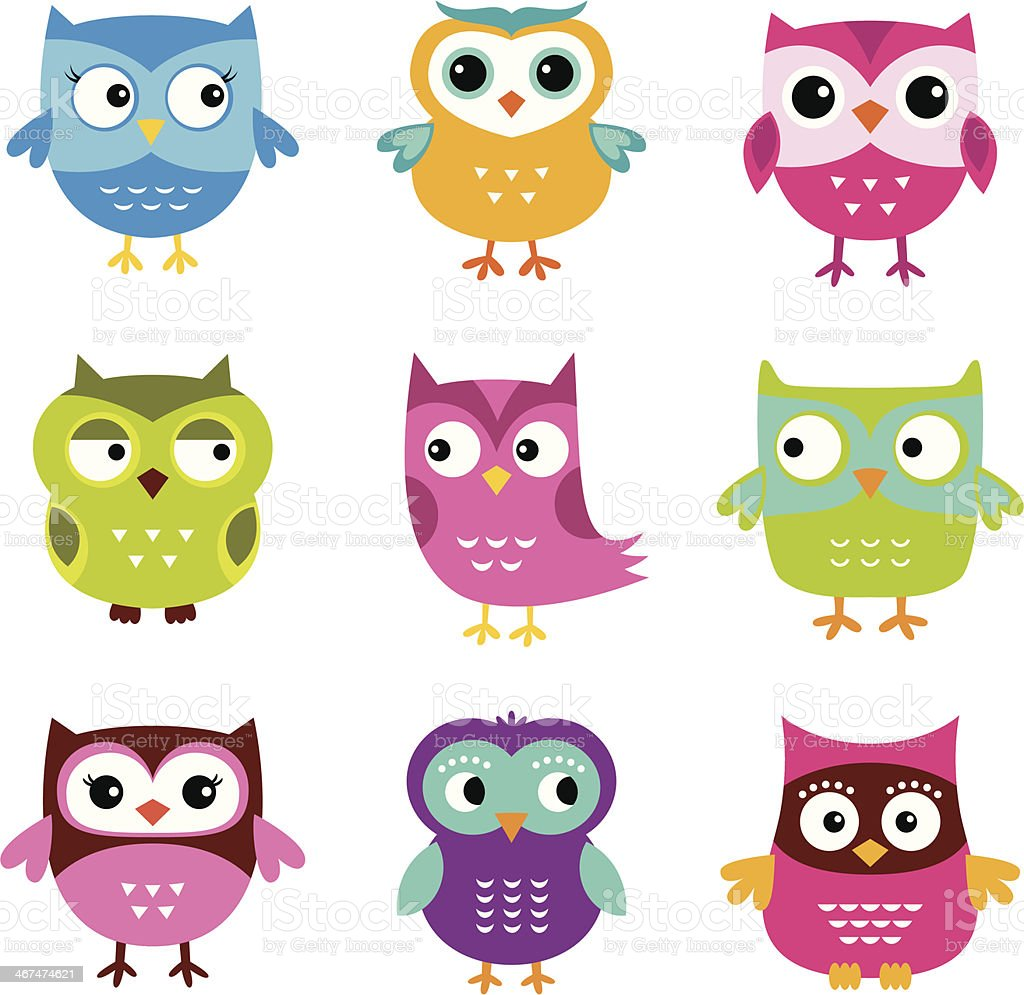 Cute vector owls set vector art illustration