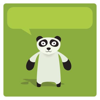 Cute Vector Panda Character With Speech Balloon