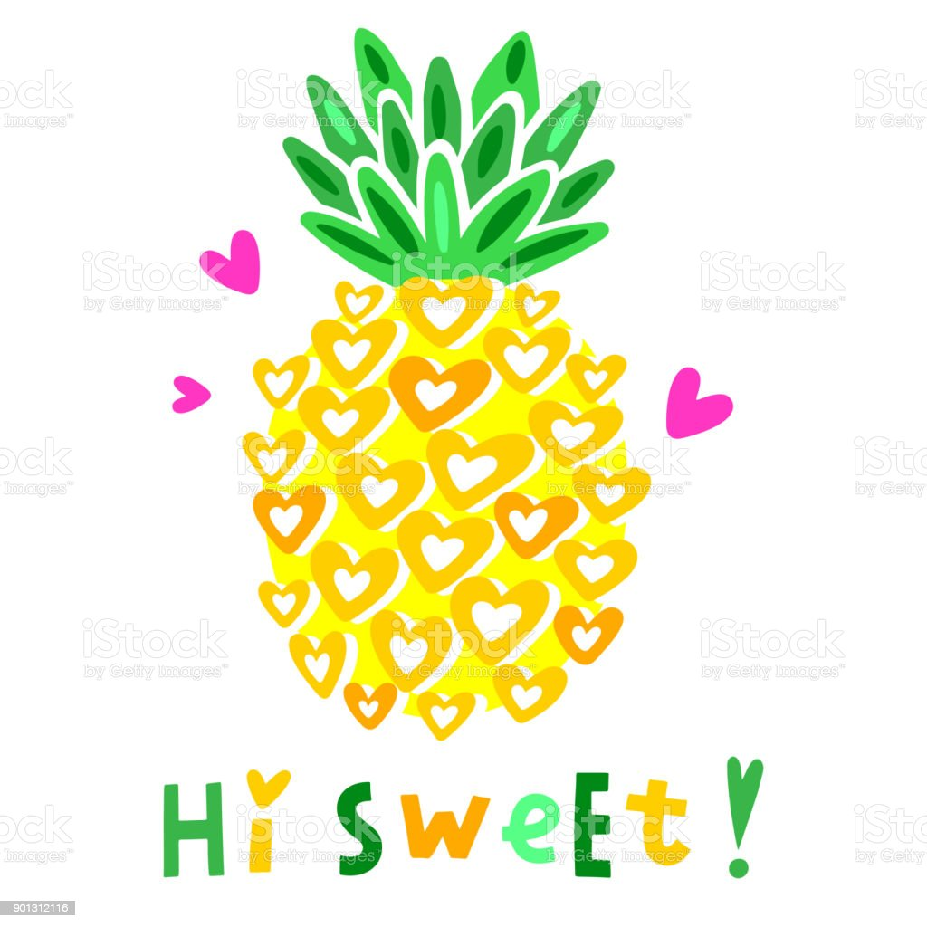 Cute Vector Pineapple Illustration Cartoon Funny Graphic Food
