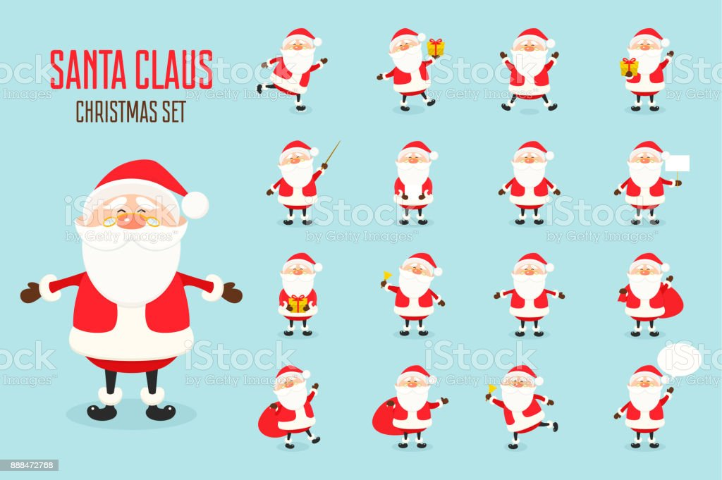 Cute Vector Santa Claus Icon Set In Flat Style Christmas Collection ...