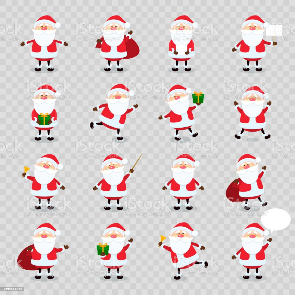 Cute vector Santa Claus icon set in flat style isolated on transparency grid background, christmas collection, xmas and New year character. Funny Santa with different emotions. Design template vector art illustration